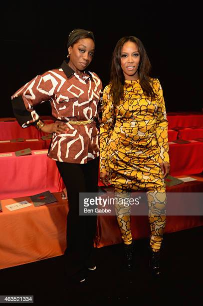Estelle and June Ambrose attend the Diane Von Furstenberg fashion show during MercedesBenz Fashion Week Fall 2015 at Spring Studios on February 15...