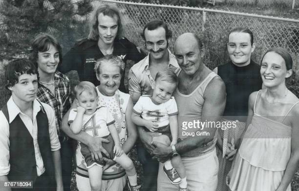 Estelle and Rene Varalo with twins David and Douglas left Michel and Marcel and Sandra and Sonia plus grandson twins Robin and Jeremy in 1979