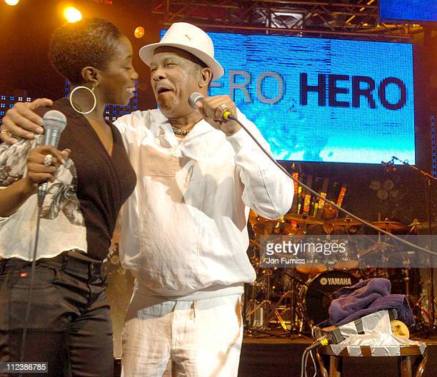 Estelle and Roy Ayers during Hero2Hero Concert Sponsored by O2 at Shepherds Bush Palais in London Great Britain