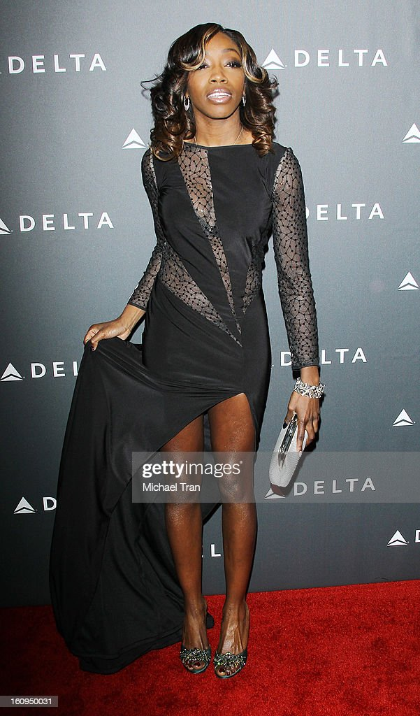Estelle arrives at Delta Air Lines celebrates the GRAMMY Awards held at The Getty House on February 7, 2013 in Los Angeles, California.
