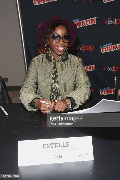 Estelle attends the Cartoon Network Super Panel CN Anything autograph signing at New York Comic Con 2014 at Jacob Javitz Center on October 11 2014 in...