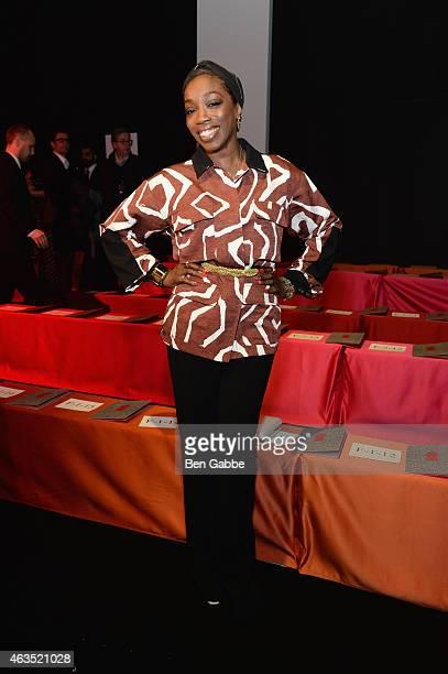 Estelle attends the Diane Von Furstenberg fashion show during MercedesBenz Fashion Week Fall 2015 at Spring Studios on February 15 2015 in New York...