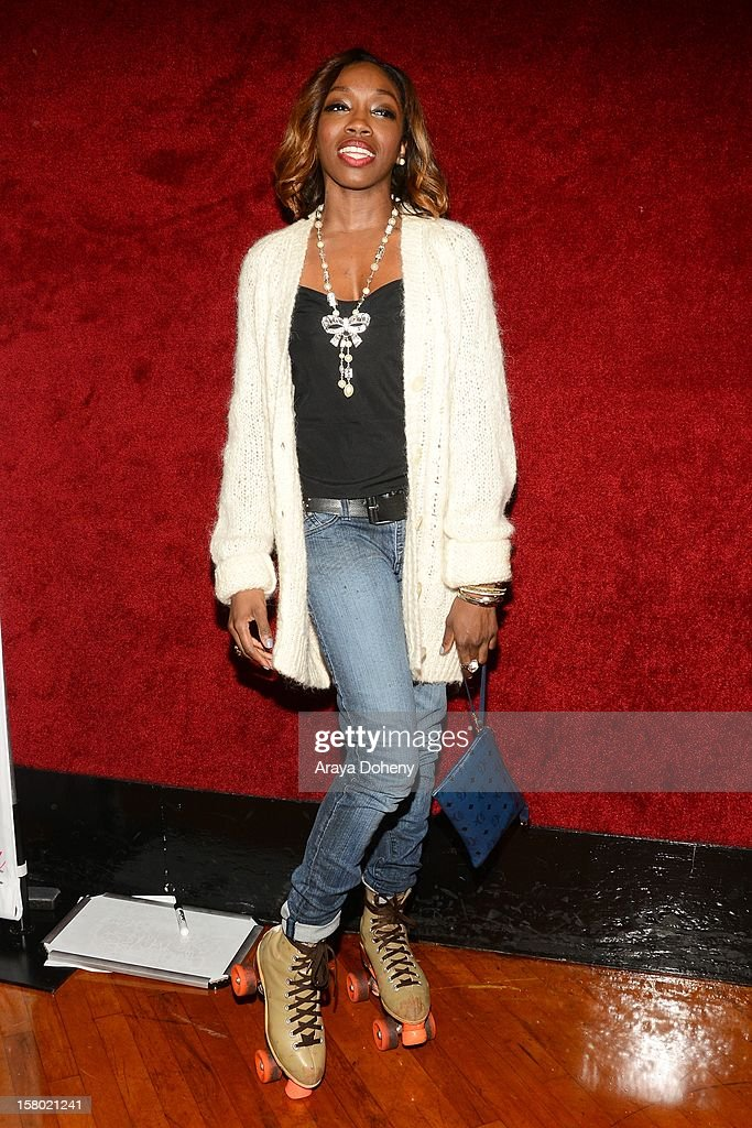 Estelle attends the Pastry Shoes Presents 'Skate & Donate' event at Moonlight Rollerway on December 8, 2012 in Glendale, California.