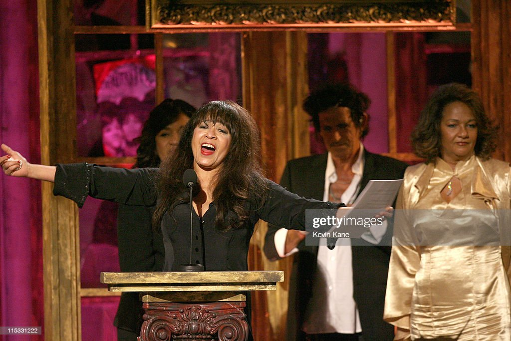 Estelle Bennett, Ronnie Spector and Nedra Talley of The Ronettes, inductees, with presenter Keith Richards