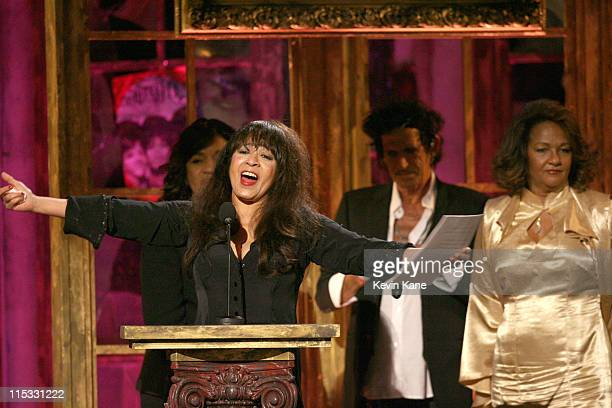 Estelle Bennett Ronnie Spector and Nedra Talley of The Ronettes inductees with presenter Keith Richards