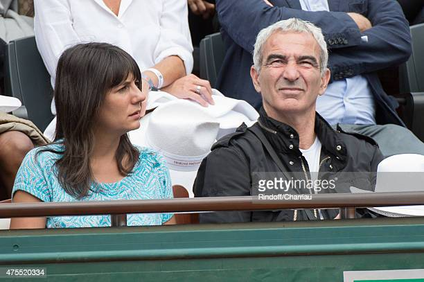 Estelle Denis and Raymond Domenech attend the Roland Garros French open at Roland Garros on June 1 2015 in Paris France