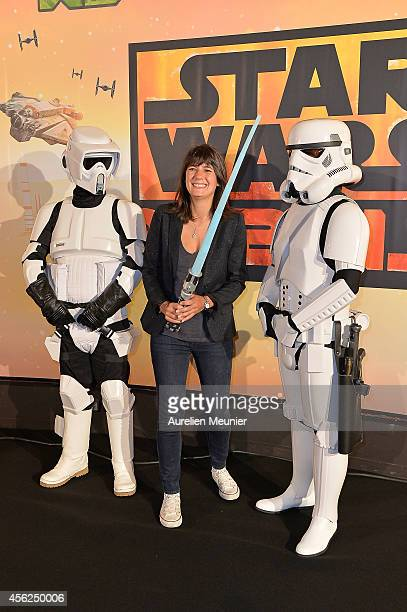 Estelle Denis attends the Paris premiere of XD Star Wars Rebels at Gaumont ChampsElysees on September 28 2014 in Paris France