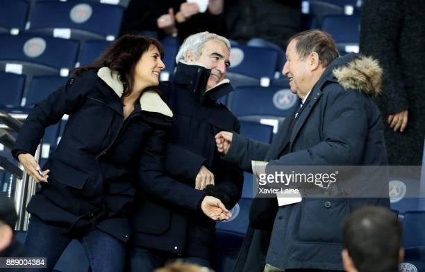 Estelle Denis Raymond Domenech and Guy Roux attend the Ligue 1 match between Paris Saint Germain and Lille OSC at Parc des Princes on December 9 2017...