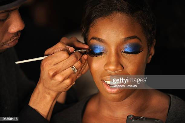Estelle is prepared backstage during Swarovski at the Red Dress Collection 2010 Fashion Show during MercedesBenz Fashion Week at The Tent at Bryant...