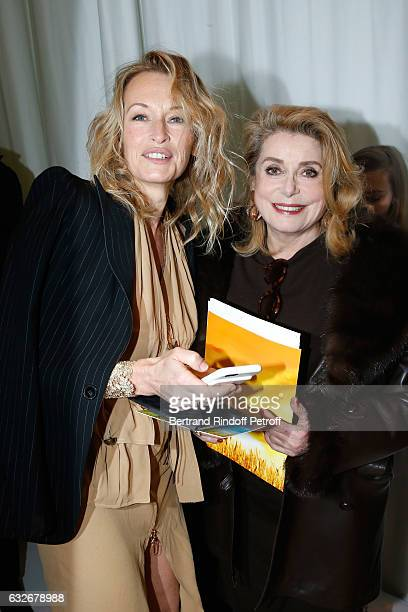 Estelle Lefebure and Catherine Deneuve attend the Jean Paul Gaultier Haute Couture Spring Summer 2017 show as part of Paris Fashion Week on January...