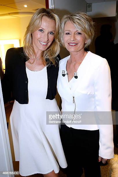 Estelle Lefebure and Main Guest of the show TV Host Sophie Davant attend the 'Vivement Dimanche' French TV Show at Pavillon Gabriel on April 1 2015...