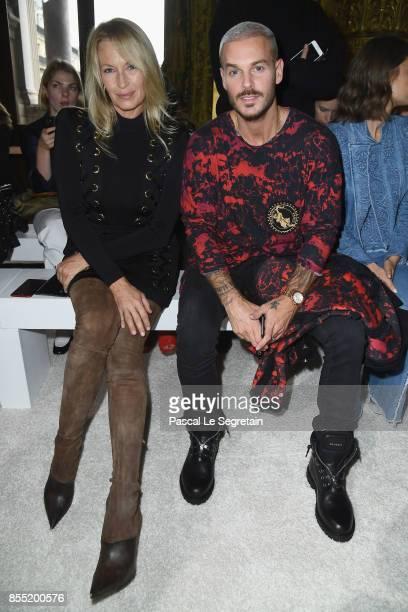 Estelle Lefebure and Matt Pokora attend the Balmain show as part of the Paris Fashion Week Womenswear Spring/Summer 2018 on September 28 2017 in...
