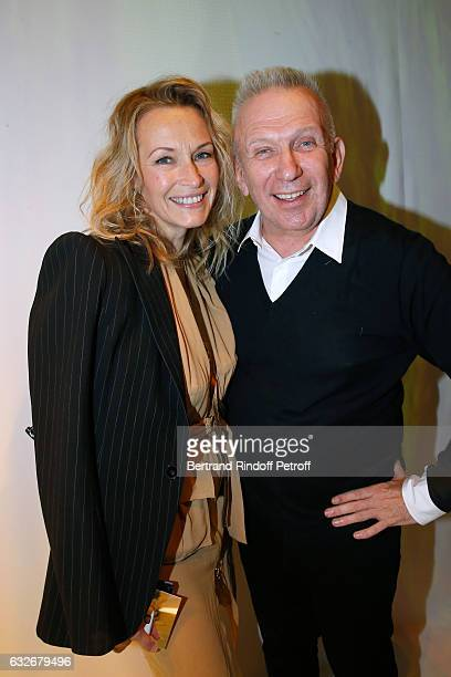 Estelle Lefebure and Stylist JeanPaul Gaultier pose after the Jean Paul Gaultier Haute Couture Spring Summer 2017 show as part of Paris Fashion Week...