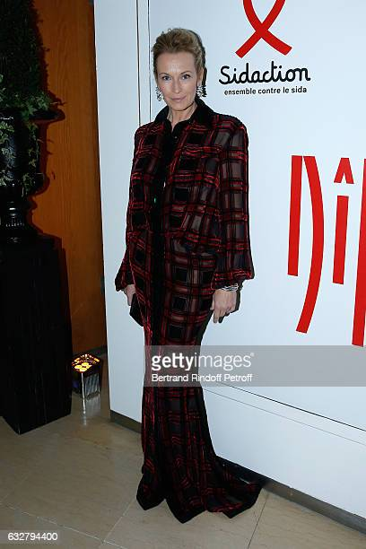 Estelle Lefebure attends the Sidaction Gala Dinner 2017 Haute Couture Spring Summer 2017 show as part of Paris Fashion Week on January 26 2017 in...