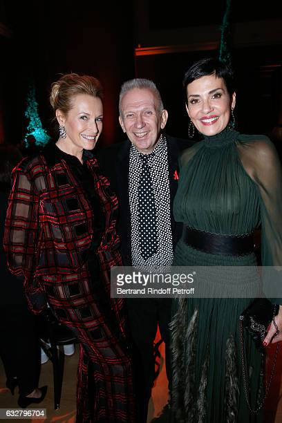 Estelle Lefebure JeanPaul Gaultier and Cristina Cordula attend the Sidaction Gala Dinner 2017 Haute Couture Spring Summer 2017 show as part of Paris...