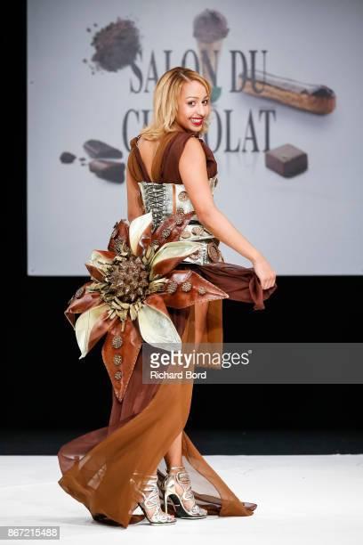 Estelle Mossely walks the runway during the Dress Chocolate show as part of Salon du Chocolat at Parc des Expositions Porte de Versailles on October...