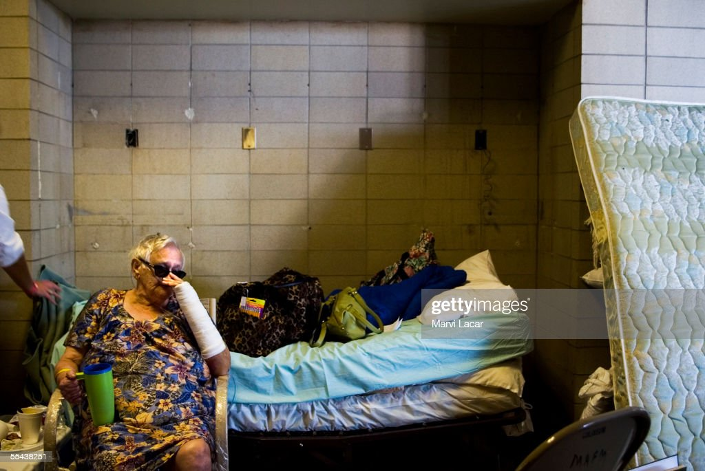Estelle Parish sits next to her bed and breathes oxygen at her refuge in the Jackson Convention Center after her house was demolished by Hurricane Katrina on September 1, 2005 in Jackson, Mississippi. Estelle suffers from diabetes and heart disease which requires a heart machine. Shelters in Mississippi are accomodating refugees from the state as well as Lousianna.