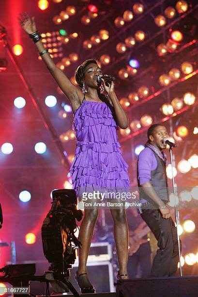 Estelle performs at the France 2 Television's 'Fete de la Musique' at the Auteuil Horse track on June 21 in Paris France