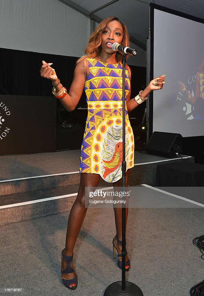 <a gi-track='captionPersonalityLinkClicked' href=/galleries/search?phrase=Estelle+-+Singer&family=editorial&specificpeople=206205 ng-click='$event.stopPropagation()'>Estelle</a> performs at the The Compound Foundation 2nd Annual 'Fostering A Legacy' Benefit Hosted By Ne-YO & Mission BIG on August 17, 2013 in East Hampton, New York.