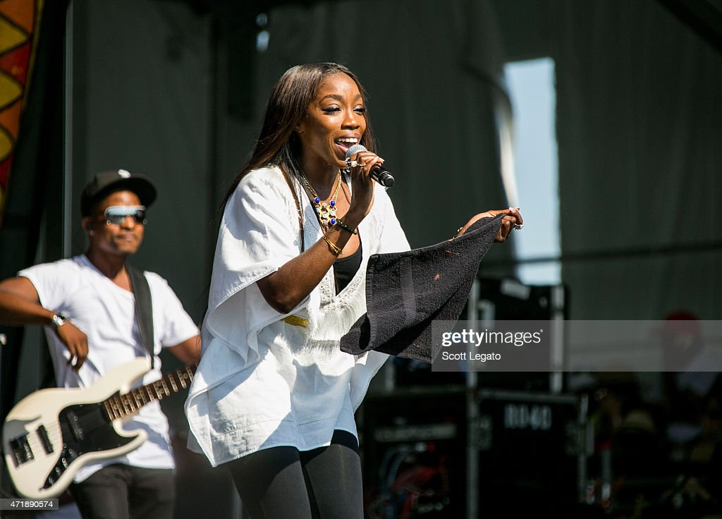 Estelle performs during the 2015 New Orleans Jazz Heritage Festival Day 5 at Fair Grounds Race Course on May 1 2015 in New Orleans Louisiana