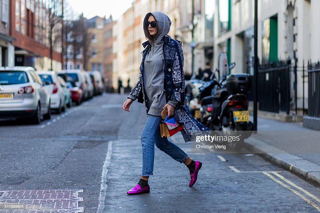 Estelle Pigault wearing a grey hoody and a Fendi bag seen outside Eudon Choi during London Fashion Week AW16 on February 19, 2016 in London, England, United Kingdom.