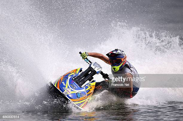 Estelle Poret of France practice ahead of the Aquabike Class Pro Circuit World Championships Grand Prix of Sharjah at Khalid Lagoon on December 21...