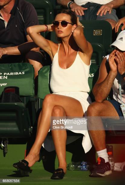 Ester Berdych Satorova shows her emotion as she watches husband Tomas Berdych of the Czech Republic in his third round match against Yoshihito...
