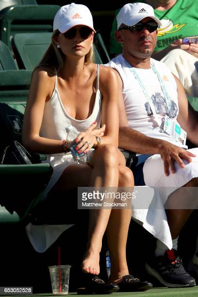 Ester Berdych Satorova watches Tomas Berdych of Czech Republic play Yoshihito Nishioka of Japan during the BNP Paribas Open at the Indian Wells...