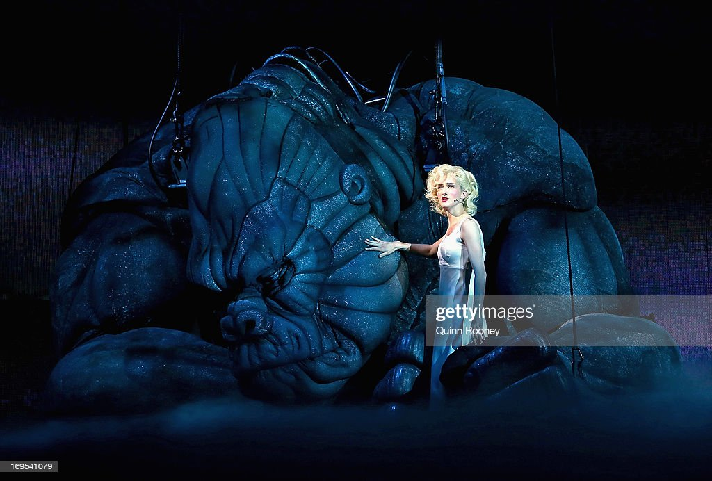 Ester Hannaford who plays Ann Darrow performs with King Kong on stage during a 'King Kong' Production media call at the Regent Theatre on May 27, 2013 in Melbourne, Australia.