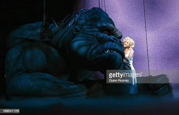 Ester Hannaford who plays Ann Darrow performs with King Kong on stage during a 'King Kong' Production media call at the Regent Theatre on May 27 2013...