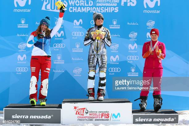 Ester Ledecka of Czech Republic wins the gold medal Patrizia Kummer of Switzerland wins the silver medal Ekaterina Tudegesheva of Russia wins the...