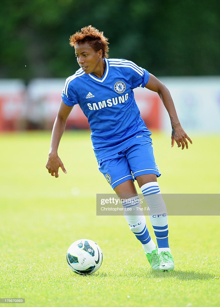 Ester of Chelsea Ladies during The FA Womens Super League match between Chelsea Ladies and Doncaster Rovers Belles Ladies at Wheatsheaf Park on August 4, 2013 in Staines, England.