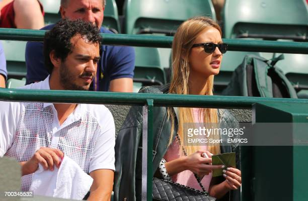 Ester Satorova girlfriend of Czech Republic's Tomas Berdych arrives on Court One for his match against Australia's Bernard Tomic