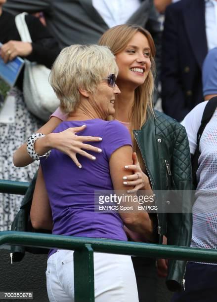 Ester Satorova girlfriend of Czech Republic's Tomas Berdych celebrates after he defeated Australia's Bernard Tomic