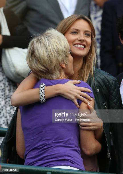 Ester Satorova girlfriend of Czech Republic's Tomas Berdych celebrates after he defeated Australia's Bernard Tomic during day three of the Wimbledon...