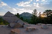 Entry to Estes Park, Colorado, at sunrise, summer time.