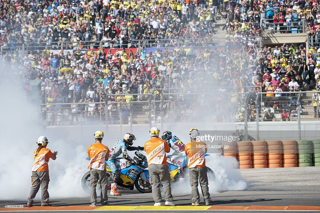 Esteve Rabat of Spain and Estrella Galicia 00 Marc VDS celebrates the victory of the Moto2 race at the end of the Moto2 race during the MotoGP...