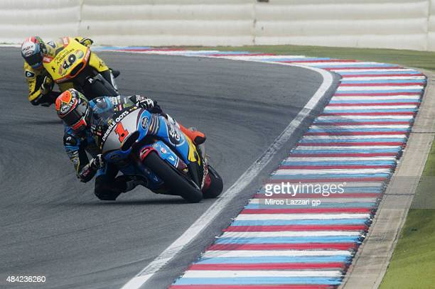 Esteve Rabat of Spain and Estrella Galicia 00 Marc VDS leads the field during the Moto2 race during the MotoGp of Czech Republic Race at Brno Circuit...