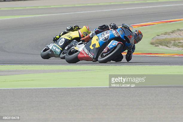 Esteve Rabat of Spain and Estrella Galicia 00 Marc VDS leads the field during the Moto2 race during the MotoGP of Spain Race at Motorland Aragon...