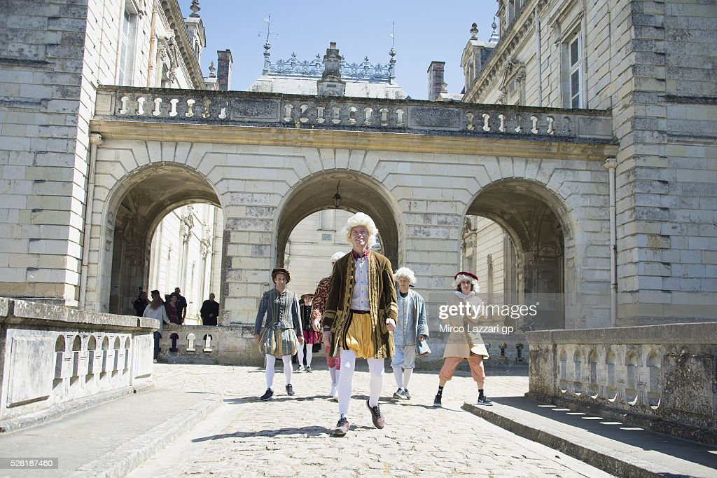 Esteve Rabat of Spain and Estrella Galicia 0,0 Marc VDS walks during a preview event at the Chateau du Lude ahead of the MotoGp of France, on May 4, 2016 in Paris, France.