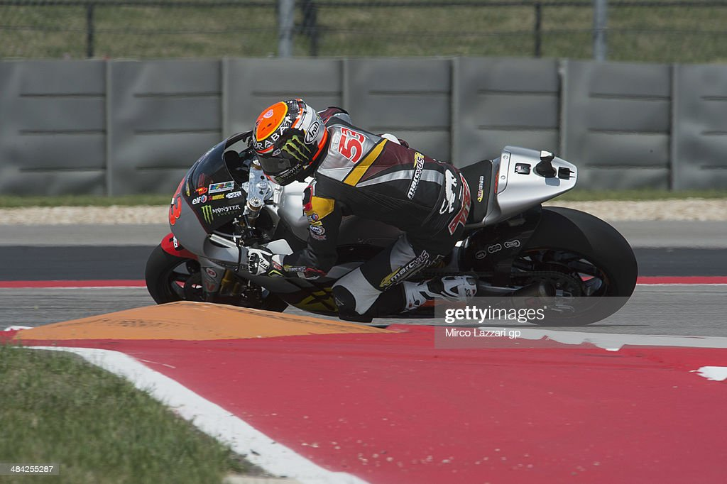 <a gi-track='captionPersonalityLinkClicked' href=/galleries/search?phrase=Esteve+Rabat+-+Motorcycle+Racer&family=editorial&specificpeople=3213737 ng-click='$event.stopPropagation()'>Esteve Rabat</a> of Spain and Marc VDS Racing Team rounds the bend during the MotoGp Red Bull U.S. Grand Prix of The Americas - Free Practice at Circuit of The Americas on April 11, 2014 in Austin, Texas.