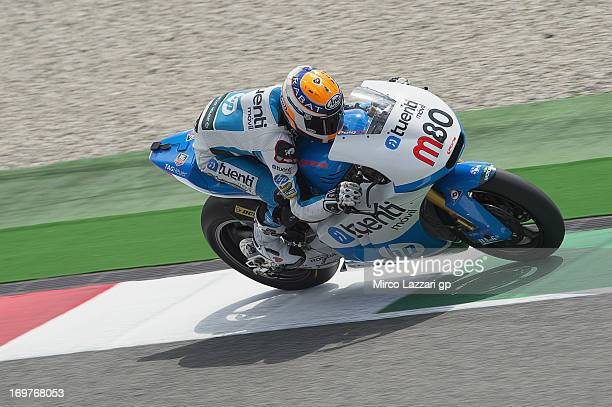 Esteve Rabat of Spain and Pons 40 HP Tuenti heads down a straight during the MotoGp of Italy Qualifying at Mugello Circuit on June 1 2013 in...