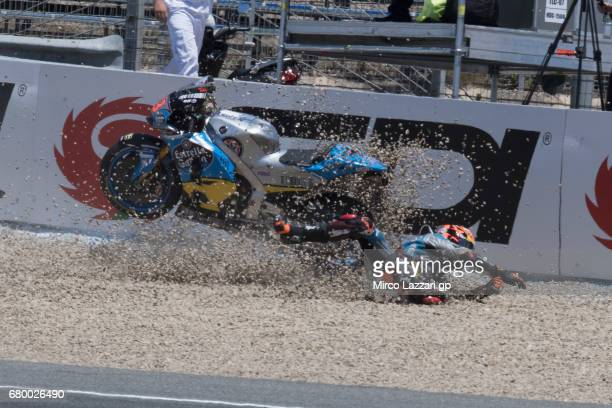 Esteve Rabat of Spain and Team EG 00 Marc VDS crashed out during the MotoGP race during the MotoGp of Spain Race at Circuito de Jerez on May 7 2017...