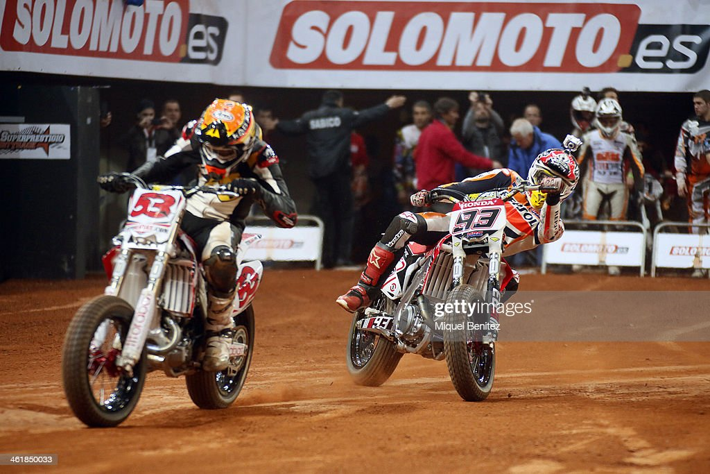 Esteve 'Tito' Rabat and <a gi-track='captionPersonalityLinkClicked' href=/galleries/search?phrase=Marc+Marquez&family=editorial&specificpeople=5409395 ng-click='$event.stopPropagation()'>Marc Marquez</a> during the Superprestigio Dirt Track Race at the Palau of Sant Jordi on January 11, 2014 in Barcelona, Spain.