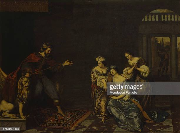 'Esther and Ahasuerus by Willem van Mieris 17th 18th century oil on panel Italy Lombardy Milan Brera Collection Whole artwork view Esther in front of...