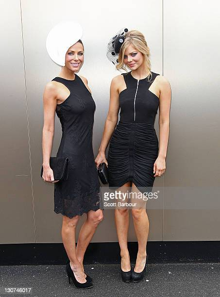 Esther Anderson and Samara Weaving attend Victoria Derby Day at Flemington Racecourse on October 29 2011 in Melbourne Australia