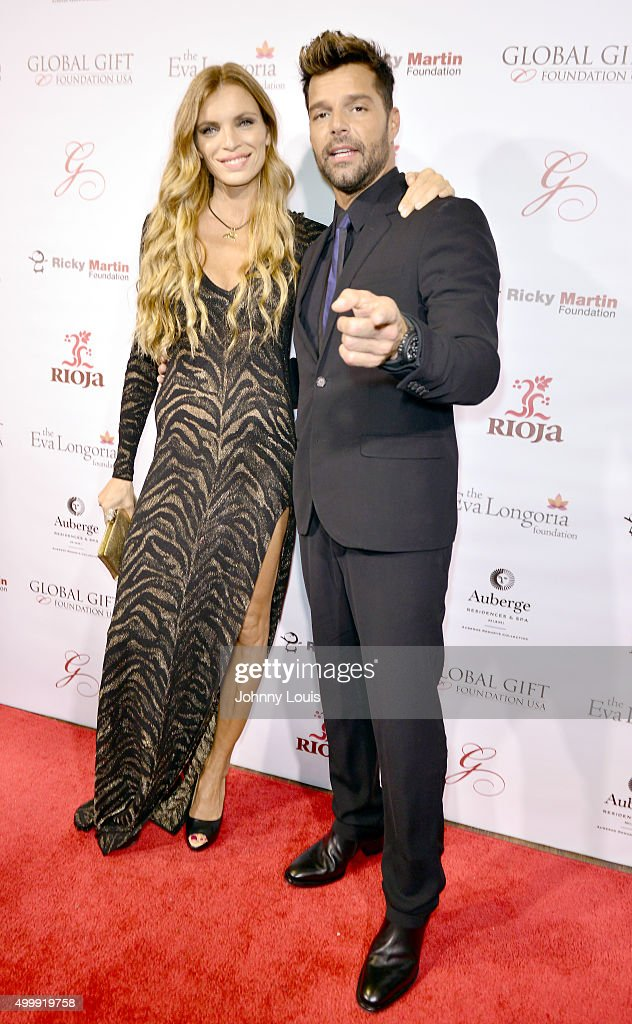 Esther Canadas and Ricky Martin attend the Global Gift Foundation Dinner at Auberge Residences & Spa sales office on December 3, 2015 in Miami, Florida.