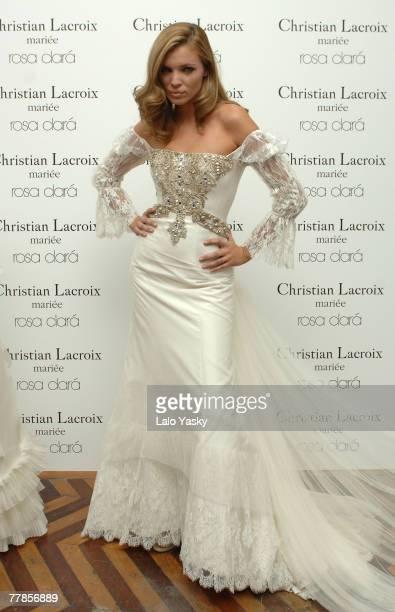 Esther Canadas presents Rosa Clara for Christian Lacroix bridal suites collection at Palacio Santa Barbara on November 12 2007 in Madrid Spain
