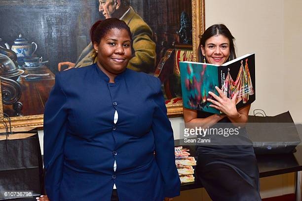 Esther D'Evil and Gabrielle Hill attend Abstracted Black Tie Dinner Hosted by Pamela Joyner Fred Giuffrida and the Ogden Museum of Southern Art to...