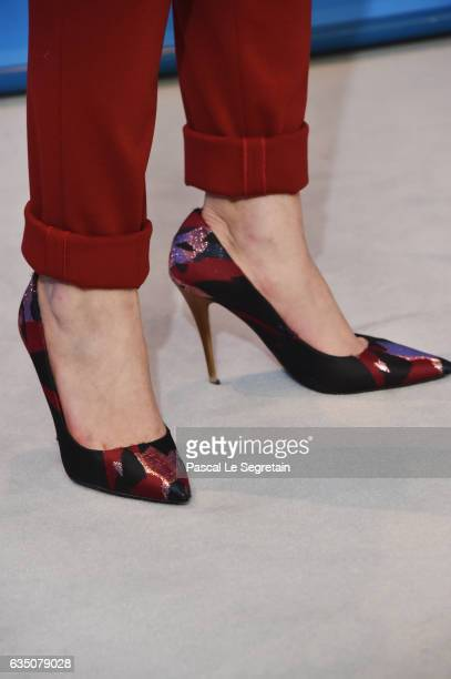 Esther Garrel shoe detail attends the 'Call Me by Your Name' photo call during the 67th Berlinale International Film Festival Berlin at Grand Hyatt...